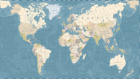 Vintage Wereldkaart - Gedetailleerde Vectorillustratie