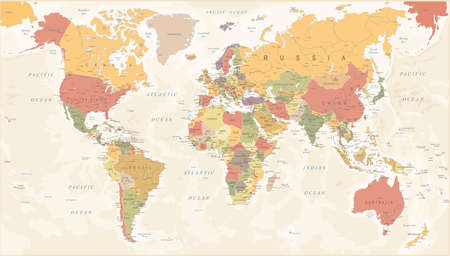 Vintage World Map - Detailed Vector Illustration Фото со стока - 80834617