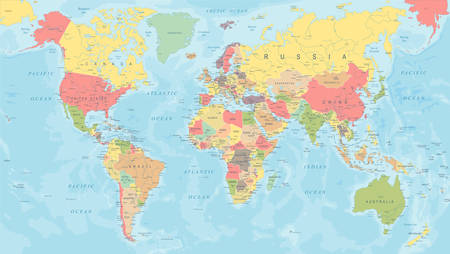 Colored World Map - Detailed Vector Illustration Stock Illustratie