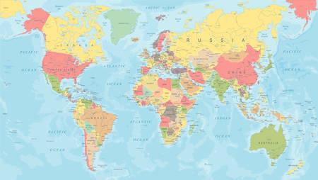 Kolorowa mapa świata - szczegółowa ilustracja wektorowa