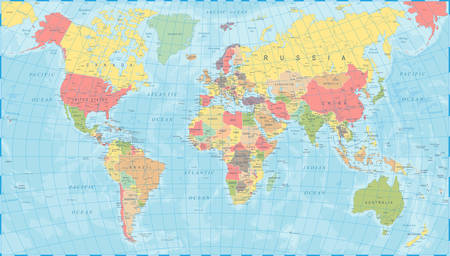 Colored World Map - Detailed Vector Illustration Vettoriali