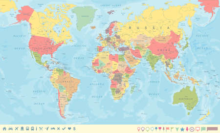 Vintage World Map and Markers - Detailed Vector Illustration Çizim