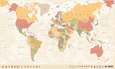 Vintage World Map and Markers - Detailed Vector Illustration Vettoriali
