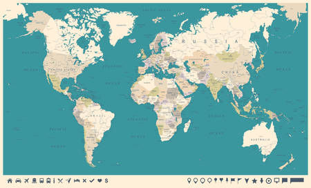 Vintage World Map and Markers - Detailed Vector Illustration Illustration