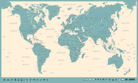 Vintage World Map and Markers - Detailed Vector Illustration Ilustração