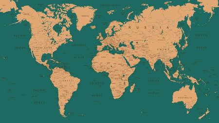 Vintage World Map - Detailed Vector Illustration