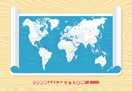 Flat Vintage World Map on Wood Texture - Detailed Vector Illustration