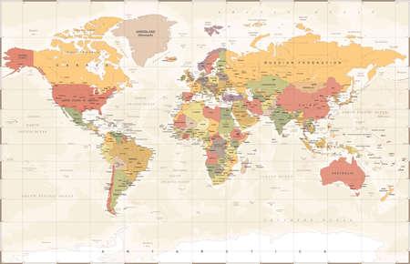 ヴィンテージの世界地図 - 詳細なベクトル図  イラスト・ベクター素材