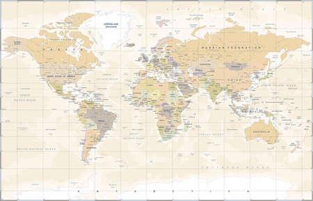 Mapa świata Vintage - Szczegółowa ilustracja wektorowa Ilustracje wektorowe