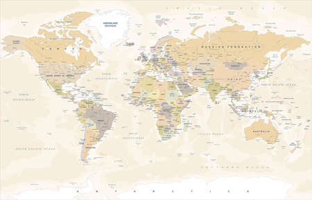 Vintage World Map - Detailed Vector Illustration Reklamní fotografie - 81194484