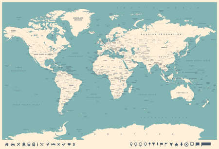 oceania: Vintage World Map and Markers - Detailed Vector Illustration Illustration