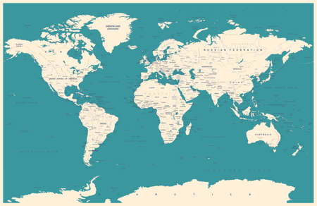 atlantic city: Vintage World Map and Markers - Detailed Vector Illustration Illustration