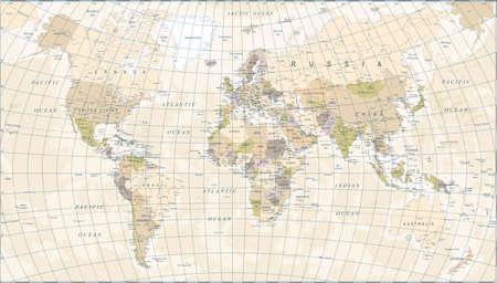 carte du monde vintage - détaillée illustration vectorielle