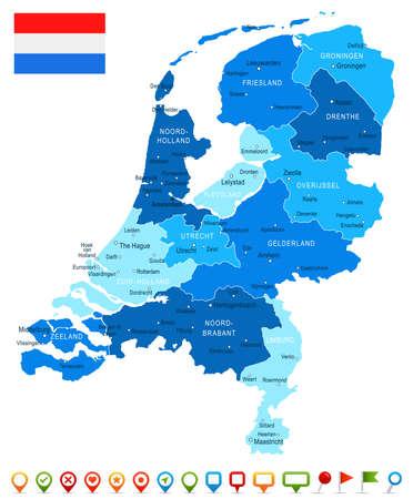 Netherlands map and flag - vector illustration Illustration