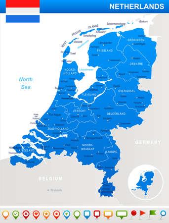 オランダ地図とフラグ - ベクトル図  イラスト・ベクター素材