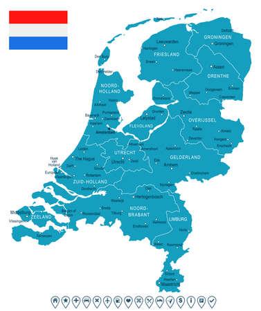 map of netherlands: Netherlands map and flag - vector illustration Illustration