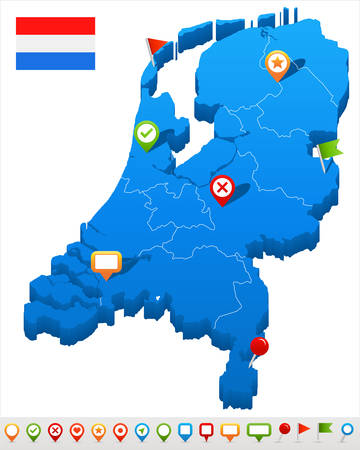 the hague: Netherlands map and flag - vector illustration Illustration