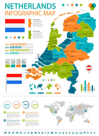 haarlem: Netherlands infographic map and flag - vector illustration
