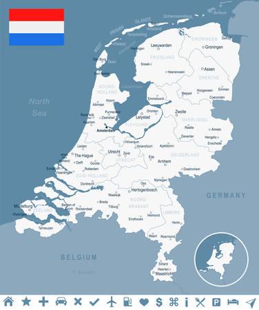 Niederlande Karte und Flagge - Vektor-Illustration