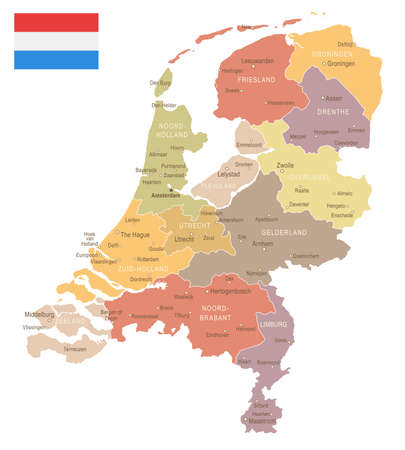 the hague: Netherlands vintage map and flag - vector illustration