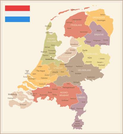 Netherlands vintage map and flag - vector illustration