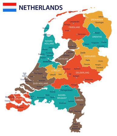 Netherlands map and flag - vector illustration  イラスト・ベクター素材