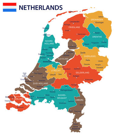 Netherlands map and flag - vector illustration