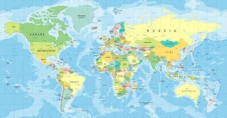 Elevata illustrazione dettagliata della mappa del mondo.