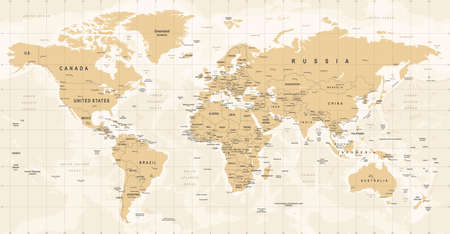 World Map Vintage Vector. High detailed illustration of worldmap