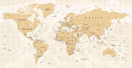 World Map Vintage Vector. High detailed illustration of worldmap