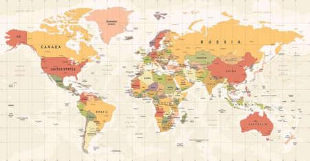 Mapa świata starodawny wektor. Wysoka szczegółowa ilustracja mapy świata