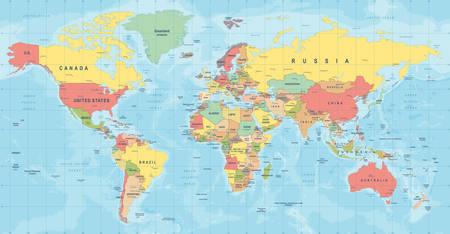 Wektor mapa świata. Wysoka szczegółowa ilustracja mapy świata Ilustracje wektorowe