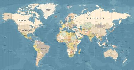 Mapa świata wektor. Wysoka szczegółowa ilustracja mapy świata