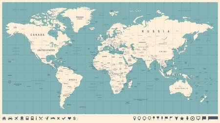 Mapa świata wektor rocznika. Wysoka szczegółowa ilustracja mapy świata