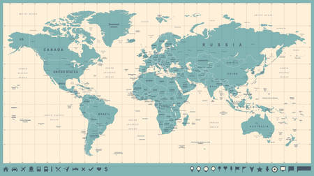 World map political blue green brown vector illustration world map vector vintage high detailed illustration of worldmap gumiabroncs Image collections