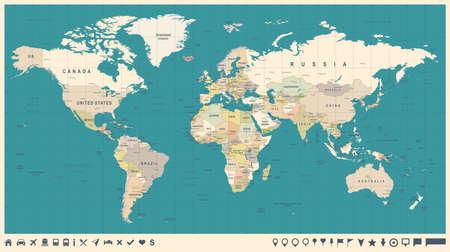 Wereldkaart Vector Vintage. Hoog gedetailleerde illustratie van wereldkaart