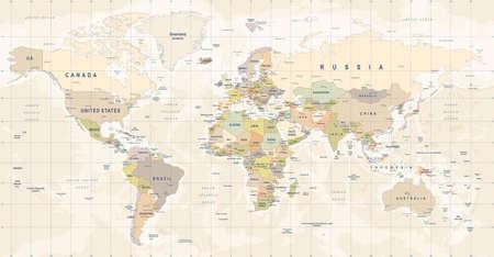 世界地図のベクター。世界の高詳細図