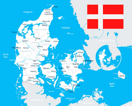Denmark map and flag - vector illustration Ilustrace