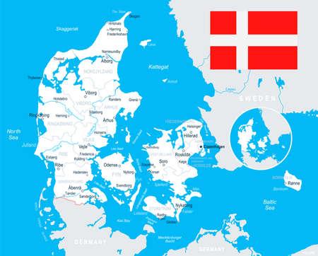 Denmark map and flag - vector illustration Illustration
