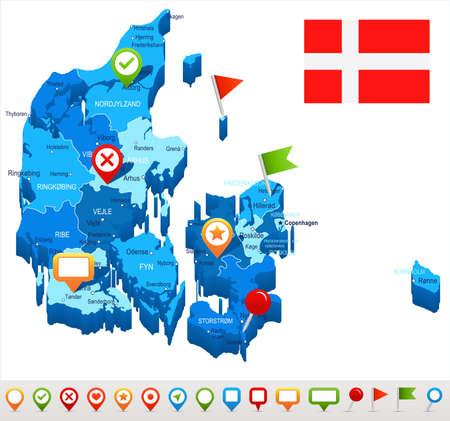 danish flag: Denmark map and flag - vector illustration Illustration