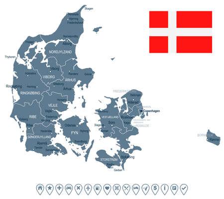デンマーク地図とフラグ - ベクトル図  イラスト・ベクター素材