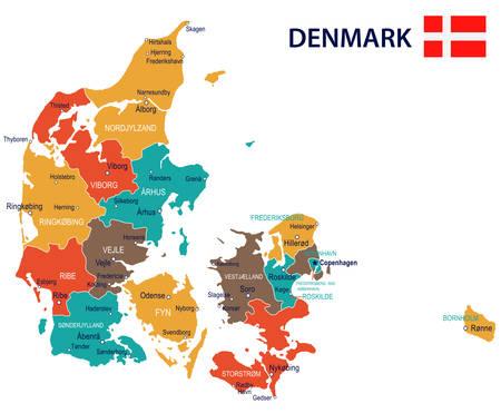 Denemarken kaart en vlag - vectorillustratie Stock Illustratie