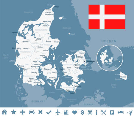 Denmark map and flag - vector illustration Ilustração
