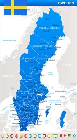 스웨덴지도 및 플래그 - 벡터 일러스트 레이 션