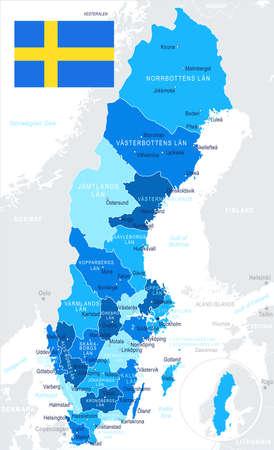 Sweden map and flag - vector illustration