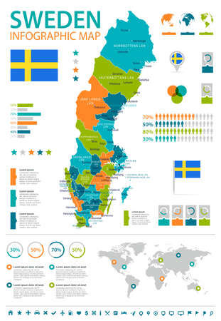 Sweden infographic map and flag - vector illustration