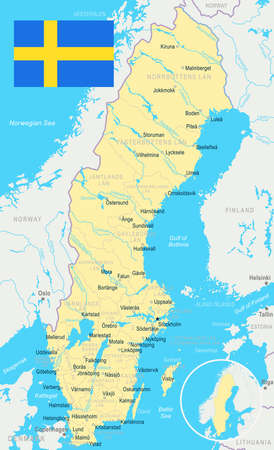 Svezia mappa e bandiera - illustrazione vettoriale Archivio Fotografico - 81714543