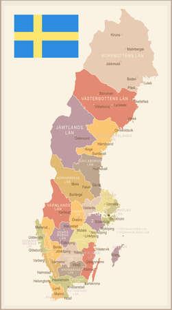 Sweden vintage map and flag - vector illustration
