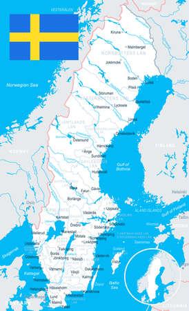 Svezia mappa e bandiera - illustrazione vettoriale Archivio Fotografico - 81714715