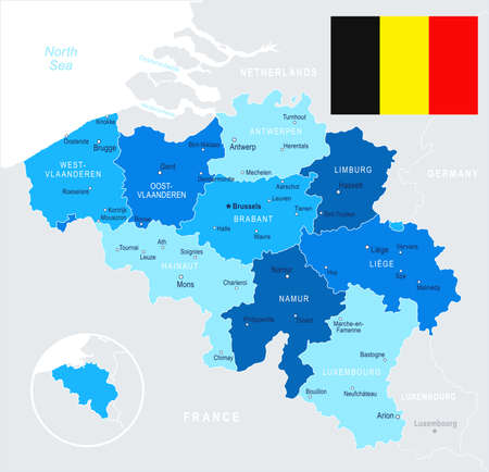 Belgium map and flag - vector illustration Imagens - 81897767